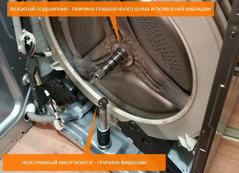 стиральная машинка прыгает из-за амортизаторов и подшипника