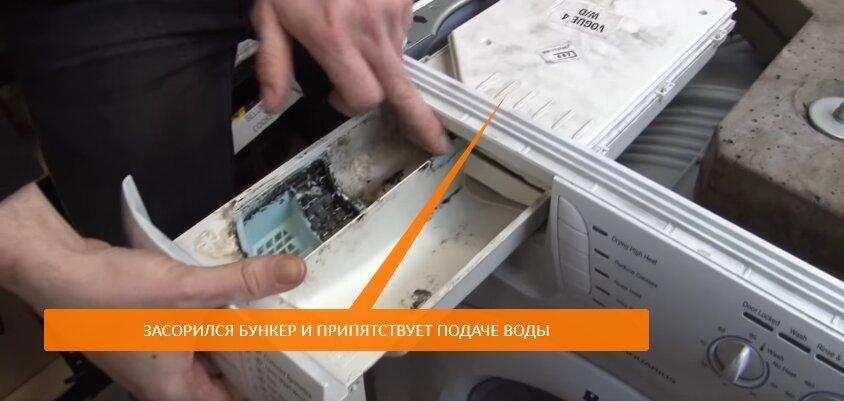 Стиральная машина не заливает воду из-за засора в бункере для порошка